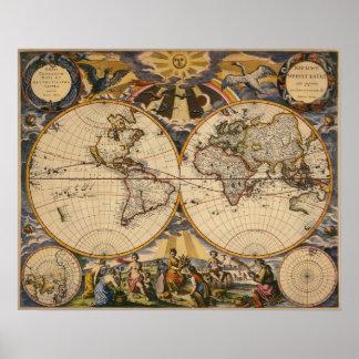 世界ポスターの旧式な地図のレプリカ ポスター
