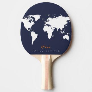 世界地図が付いているクールで青いtable_tennisのかい 卓球ラケット