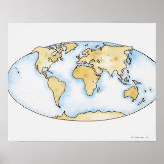 世界地図のイラストレーション ポスター