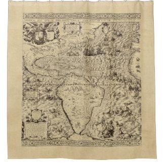 世界地図のシーサーペントのセピア色 シャワーカーテン