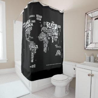 世界地図のタイポグラフィのシャワー・カーテン、黒及び白 シャワーカーテン