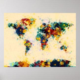 世界地図のペンキははねかけます ポスター