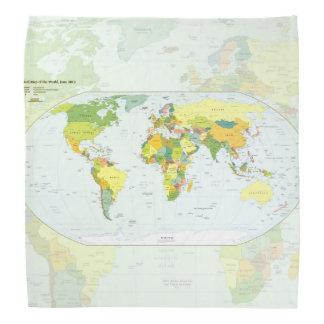 世界地図の地球の地図書の国 バンダナ