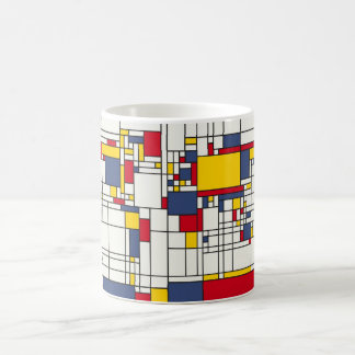 世界地図の抽象芸術のモンドリアンのスタイル コーヒーマグカップ