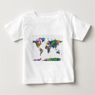 世界地図の水彩画 ベビーTシャツ