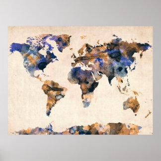 世界地図の水彩画 ポスター