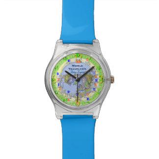 世界地図の移動時間の地帯 腕時計