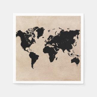 世界地図の紙ナプキン スタンダードカクテルナプキン