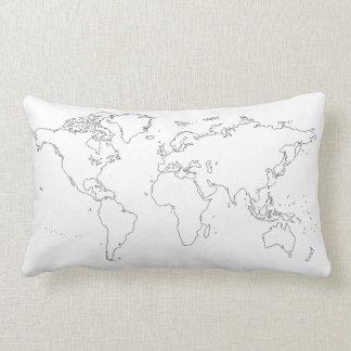 世界地図の綿の枕 ランバークッション