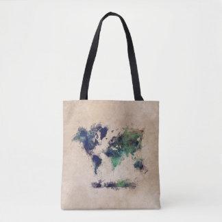 世界地図の緑のしぶきのバッグ トートバッグ