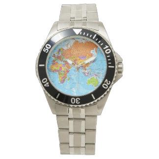 世界地図の腕時計 リストウオッチ