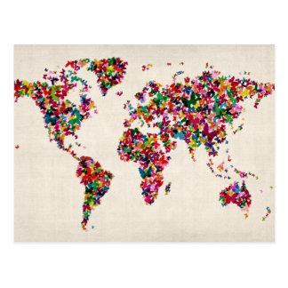 世界地図の蝶地図 ポストカード