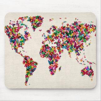 世界地図の蝶地図 マウスパッド