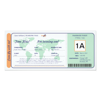 世界地図の誕生日の搭乗券のチケット 10.2 X 23.5 インビテーションカード