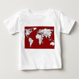 世界地図の赤い白 ベビーTシャツ