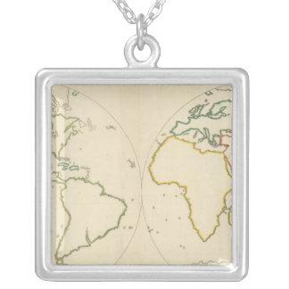 世界地図の輪郭2 シルバープレートネックレス