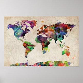 世界地図の都市水彩画 ポスター