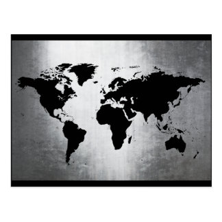 世界地図の金属 ポストカード