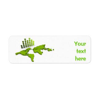 世界地図のAveryの緑のラベル ラベル