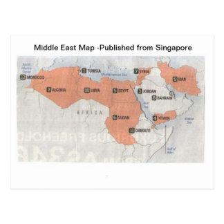 世界地図中東 ポストカード