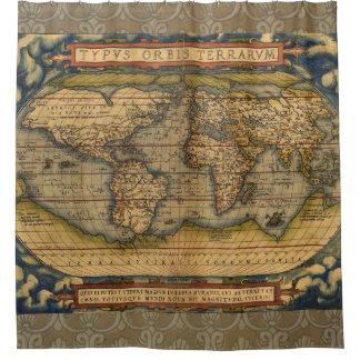 世界地図旧式なOrteliusヨーロッパ シャワーカーテン