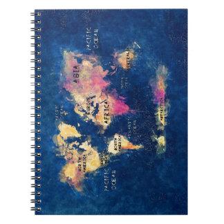 世界地図海洋および大陸 ノートブック
