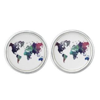 世界地図6 カフボタン