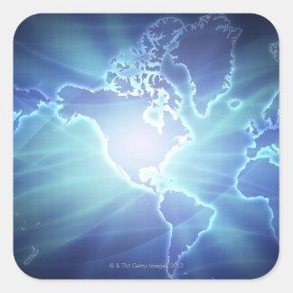 世界地図6 スクエアシール