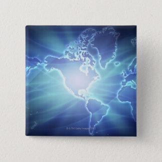 世界地図6 5.1CM 正方形バッジ