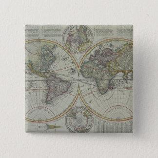 世界地図8 5.1CM 正方形バッジ