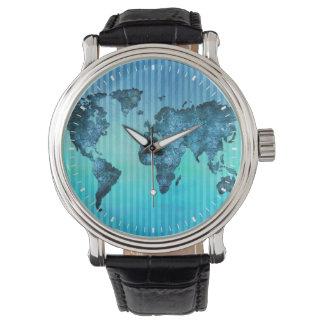 世界地図|のネオン青い縞 腕時計