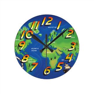 世界地図 ラウンド壁時計