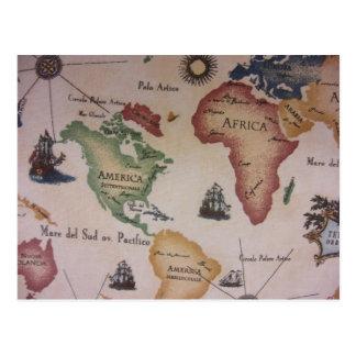 世界地図 -- 大西洋 ポストカード
