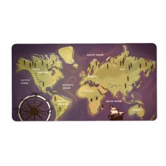 世界地図 発送ラベル