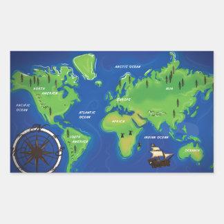 世界地図 長方形シール