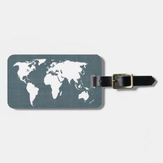 世界地図。 青および白 ラゲッジタグ