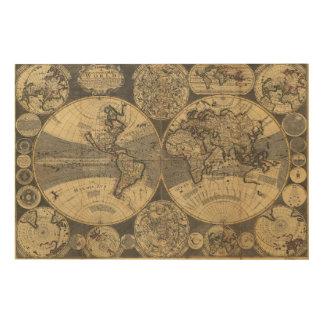 世界地図(1702年) ウッドウォールアート