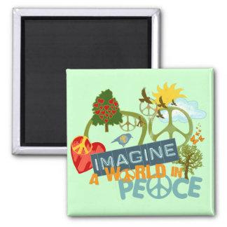 世界平和を想像して下さい マグネット