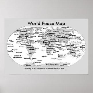 世界平和地図-のために死ぬことを何も ポスター
