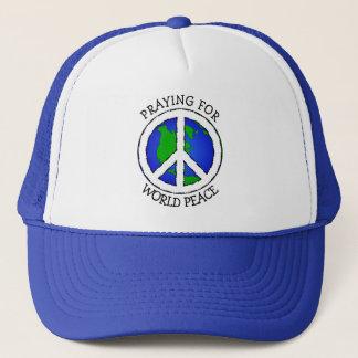 世界平和地球およびピースサインの帽子 キャップ