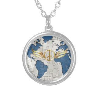 世界平和 シルバープレートネックレス
