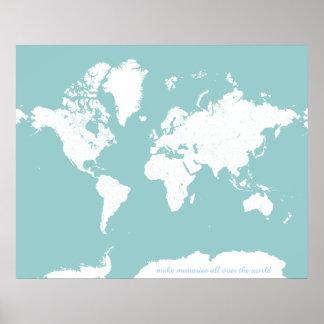 世界旅行地図-カスタマイズ可能な背景色 ポスター