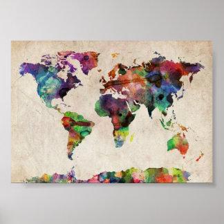 世界旅行者の地図のヴィンテージ素朴なポスタープリント ポスター