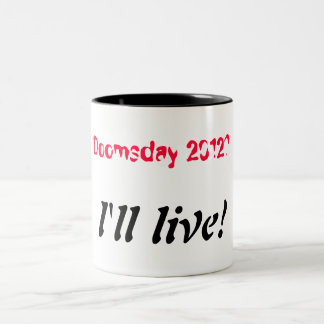 世界終末2012年-私は住んでいます ツートーンマグカップ
