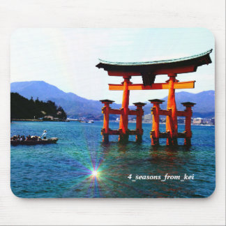 世界遺産のある広島の廿日市の宮島厳島神社での海に立つ大鳥居☆O-torii☆itukusima マウスパッド