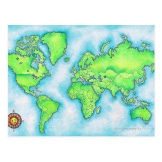 世界15の地図 ポストカード
