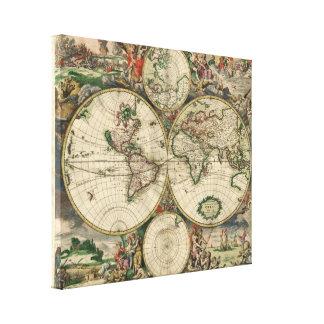 世界1689年の地図- GerardヴァンSchagen著… キャンバスプリント