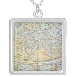 世界2の地図 シルバープレートネックレス