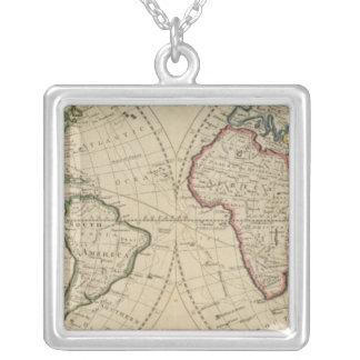 世界4の地図 シルバープレートネックレス