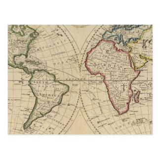 世界4の地図 ポストカード